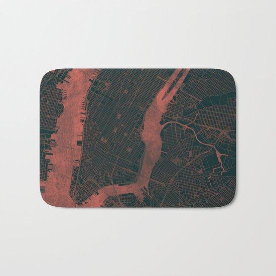 New York Map Red Bath Mat