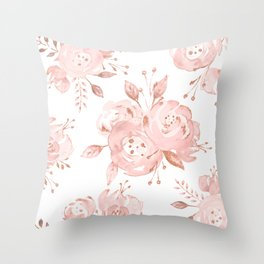 Roses Rose Gold Glitter Pink by Nature Magick Throw Pillow