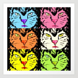 Cat faces with black on Art Print