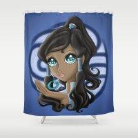 legend of korra Shower Curtains featuring Avatar Korra: Kishimoto Style by Alice In Underwear
