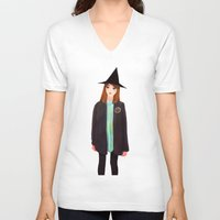hermione V-neck T-shirts featuring Hermione Granger by Lenas 9th Art