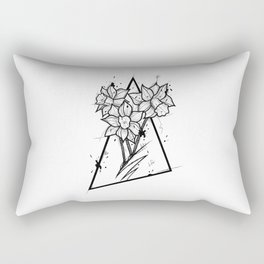 Narcissus Handmade Drawing, Made in pencil and ink, Tattoo Sketch, Tattoo Flash, Blackwork Rectangular Pillow