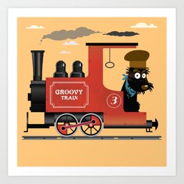 Groovy train Art Print