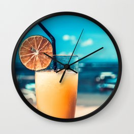 Cold drink at the beach Wall Clock