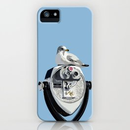 Seagull on Binoculars by the Ocean Illustrated Print iPhone Case