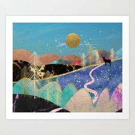 Magical starry night Art Print