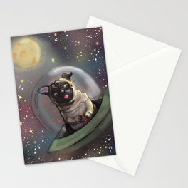 Pug in Space Stationery Cards