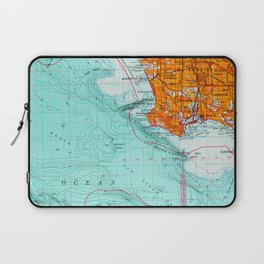 Long Beach colorful old map Laptop Sleeve