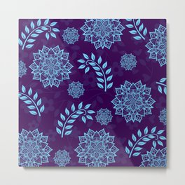 Mandalas & Leaves Pattern Blue Purple Metal Print