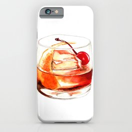 Cocktails. Old Fashioned. Watercolor Painting. iPhone Case