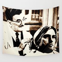 kurt rahn Wall Tapestries featuring Kurt & Floyd  |  Grunge Collage by Silvio Ledbetter
