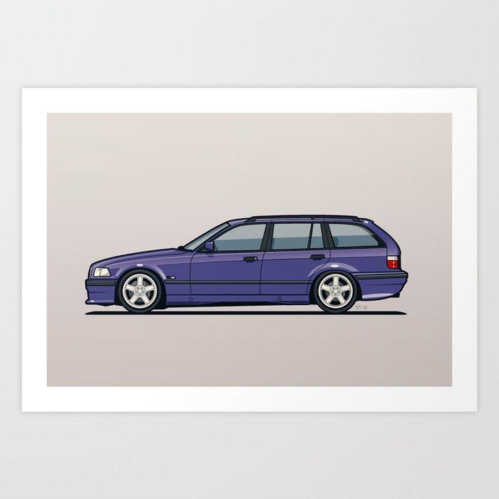 BMW E36 328i Touring Wagon Techno Violet Art Print