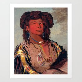 Head Chief of the Miniconjou Tribe by George Catlin Art Print