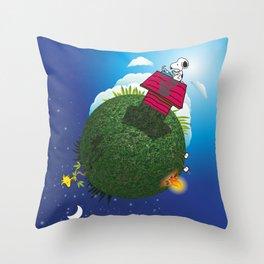 Green Peanuts World Throw Pillow