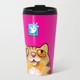 Cat love twitter bir fucsia Travel Mug