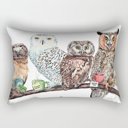 Tea owls , funny owl tea time painting by Holly Simental Rectangular Pillow