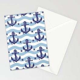 Sailor Stripes and Anchor Pattern Light Blue 10 Stationery Cards