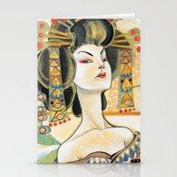 klimt Stationery Cards featuring Klimt Oiran by Sara Richard