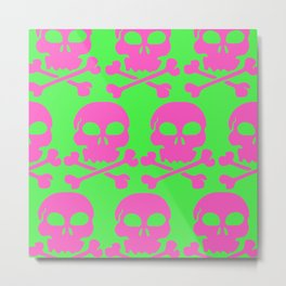 Skull Crazy- Watermelon Metal Print