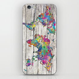 world map wood 4 iPhone Skin