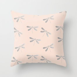 dragonfly pattern: silver & rose Throw Pillow