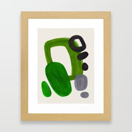 Minimalist Modern Mid Century Colorful Abstract Shapes Olive Green Retro Funky Shapes 60's Vintage Framed Art Print