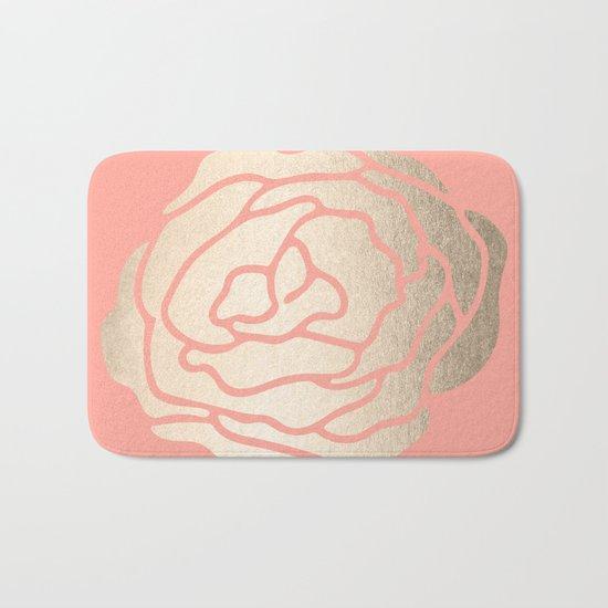 Rose White Gold Sands on Salmon Pink Bath Mat
