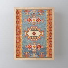 Moroccan 19th Century Authentic Colorful Baby Blue Vintage Patterns Framed Mini Art Print