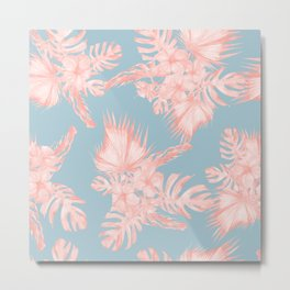 Tropical Palm Leaves Hibiscus Coral Blue Metal Print