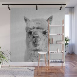 Alpaca - Black & White Wall Mural