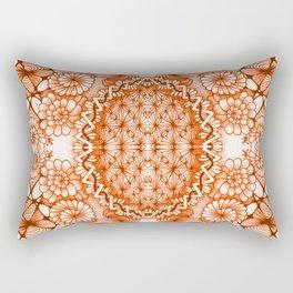 Orange Zentangle Tile Doodle Design Rectangular Pillow
