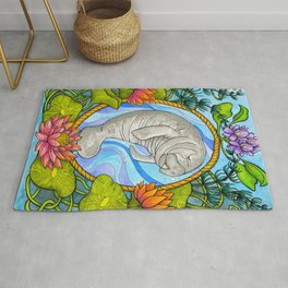 Manatee and Water Lilies Rug