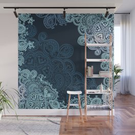 Indian boho pattern with ornament in blue Wall Mural