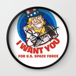 US Space Force I Want You Uncle Sam Wall Clock