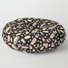 Skyline Chili Pattern Black Floor Pillow