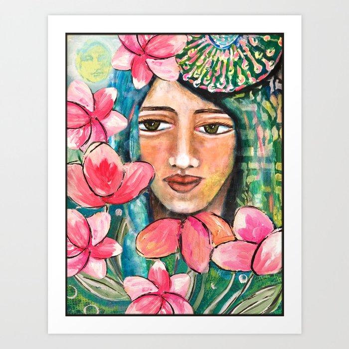 Woman Amidst Pink Flowers Art Print