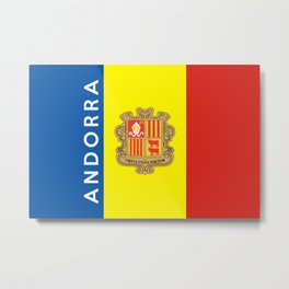 Andorra country flag name text Metal Print