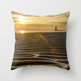 Sandbars and Sunset Coastal Nature / Landscape Photograph Throw Pillow