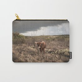 Stare Down - A Texas Bull in the Mesquite and Cactus Carry-All Pouch