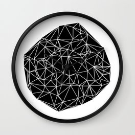 Random delaunay triangulation - black Wall Clock