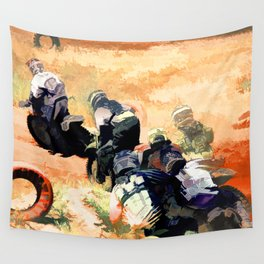 Leading the Pack  - Motocross Racers Wall Tapestry