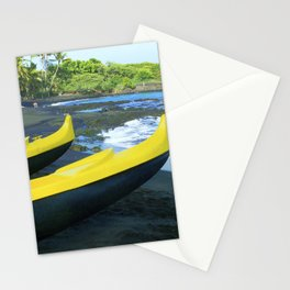 Outriggers on Hawaii's Big Island Black Sand Beach Stationery Cards