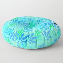 Blue Mint Cannabis Swirl Floor Pillow