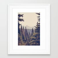 calm Framed Art Prints featuring Mountains through the Trees by Kurt Rahn