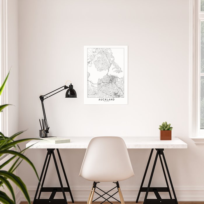 Auckland White Map Poster