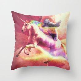 Epic Space Sloth Riding On Unicorn Throw Pillow