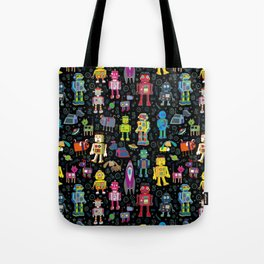 Robots in Space - on black Tote Bag