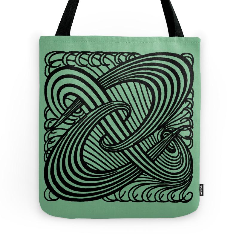 Art Nouveau Swirls in Sage Green Tote Purse by laurabethlove (TBG7514894) photo