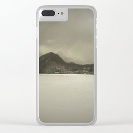 Frozen lake and winter mountain Clear iPhone Case