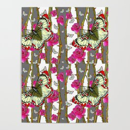 RED-YELLOW  ORIENTAL STYLE BUTTERFLIES & PINK ROSES GREY PATTERN DESIGN FROM SOCIETY6   BY SHARLESAR Poster